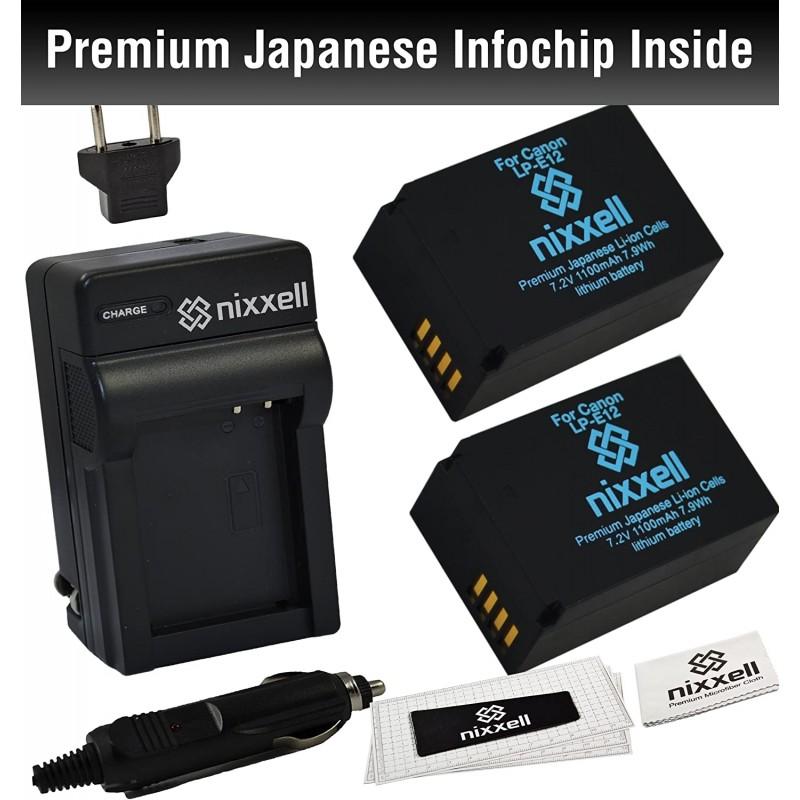 콤보 키트 WT Nixxell 배터리 (2 팩) 및 Canon LP-E12 LC-E12 및 EOS-M EOS-M2 EOS M10 EOS Rebel SL1 EOS 100D (완전 디, 단일옵션