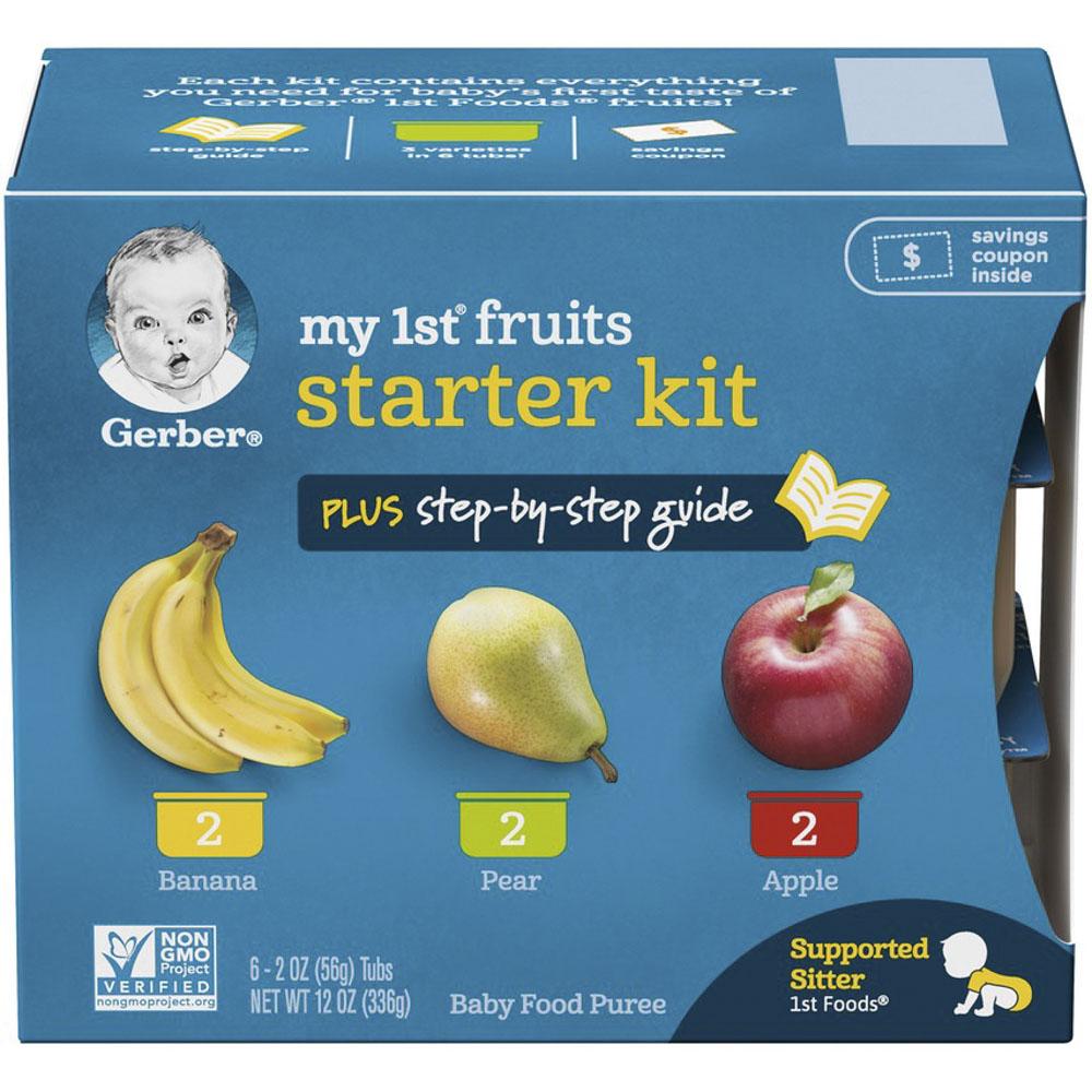 거버 마이 1st 프루트 스타터 어린이 과일퓨레 56g 6개입 + 스텝-바이-스텝 가이드 키트, 1개, 바나나(Banana), 배(Pear), 사과(Apple)