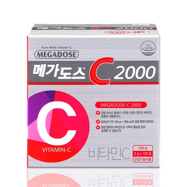 [명절특가]온가족이 함께! 비타민C [고려은단] 메가도스C2000 (120포1박스4개월분) 영국산비타민C100%, 1박스, 120포