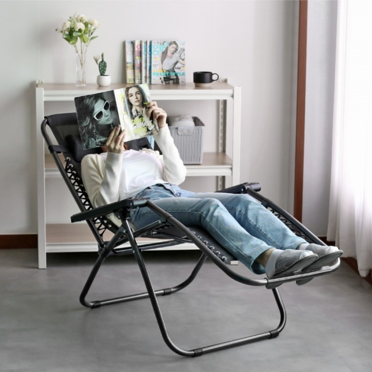 무중력느낌 접이식의자 1인용 꿀잠 리클라이너 눕는 독서 캠핑의자 침대 스르륵 차박 안락 각도조절 체어, 브라운