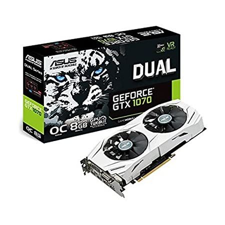 ASUS Dual GEFORCE GTX 1070 8GB OC Computer Graphics Card - PCI-E G-Sync 4K and VR Ready GPU (Renewe, 상세 설명 참조0