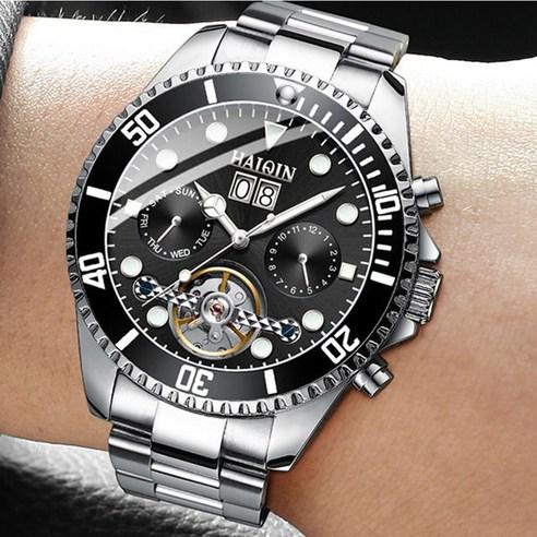 HAIQIN 바바존 100m방수 남자시계 오토매틱시계 남성시계 메탈조절기 증정 손목시계 명품 8513