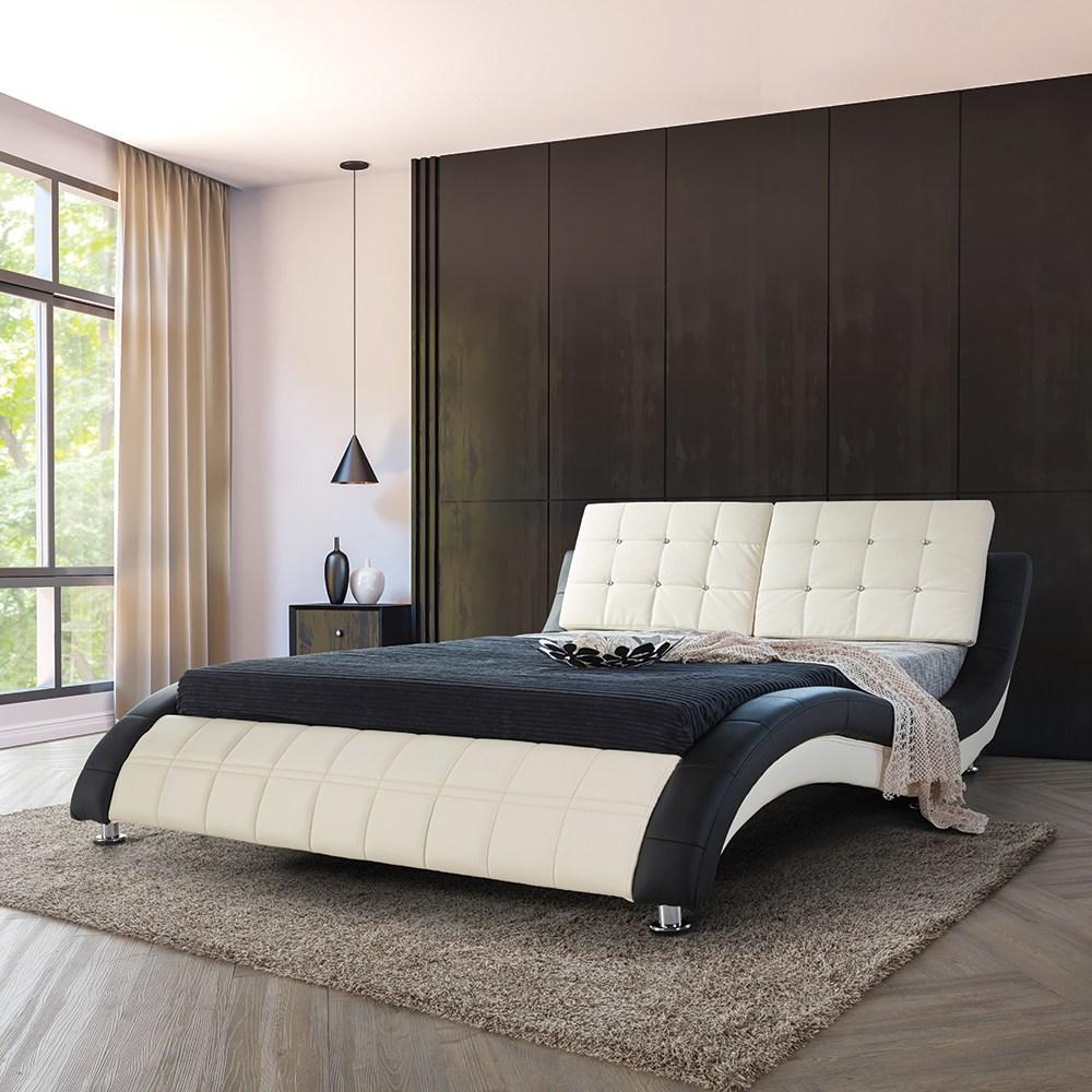 웰퍼니쳐 릴렉스 가죽 슈퍼킹 침대(프레임+매트리스), 블랙+크림