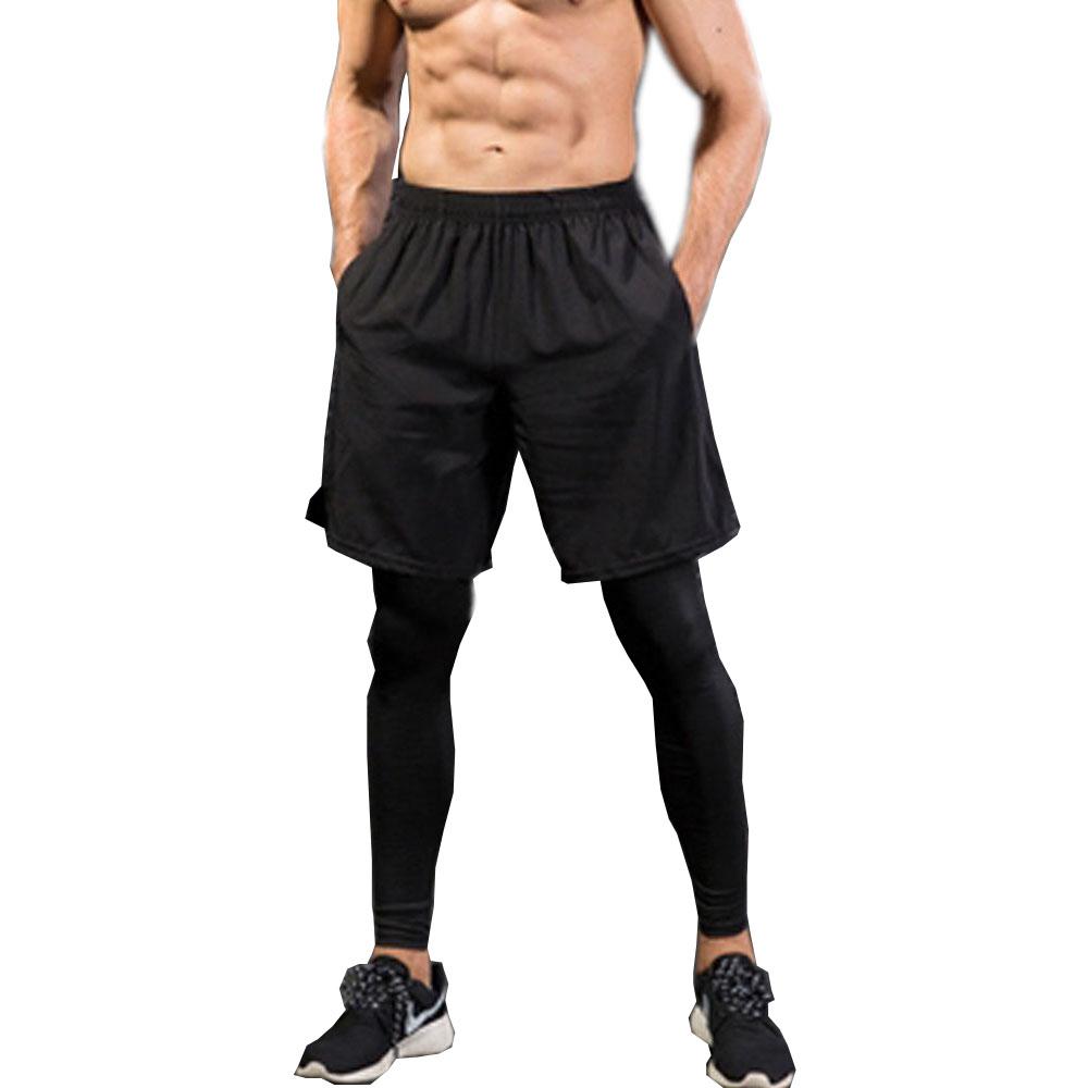 남자 스포츠 레깅스+반바지 일체형 남자레깅스 헬스복 언더레이어 스타킹