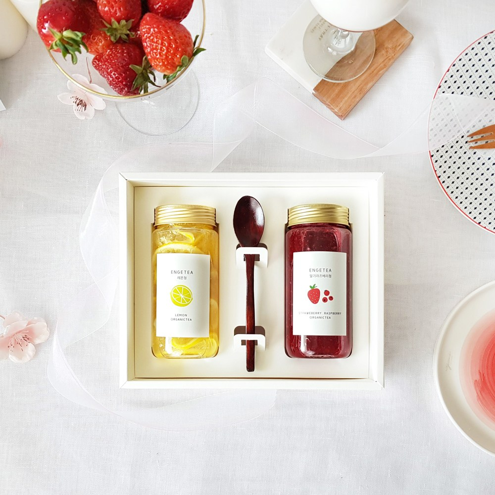 엔게티 수제청 선물세트 (딸기라즈베리청 x 레몬청) 수제 과일청, 1개, 300ml+300ml+원목스푼+선물박스(리본미포함), 1set, 300ml