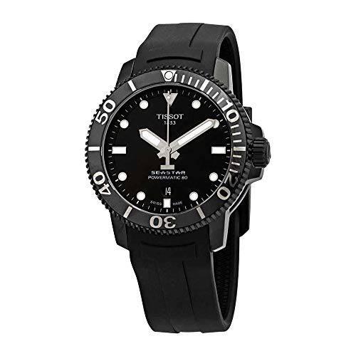 Tissot Seastar 1000 블랙 다이얼 자동 남자 고무 시계 T120.407.37.051.00