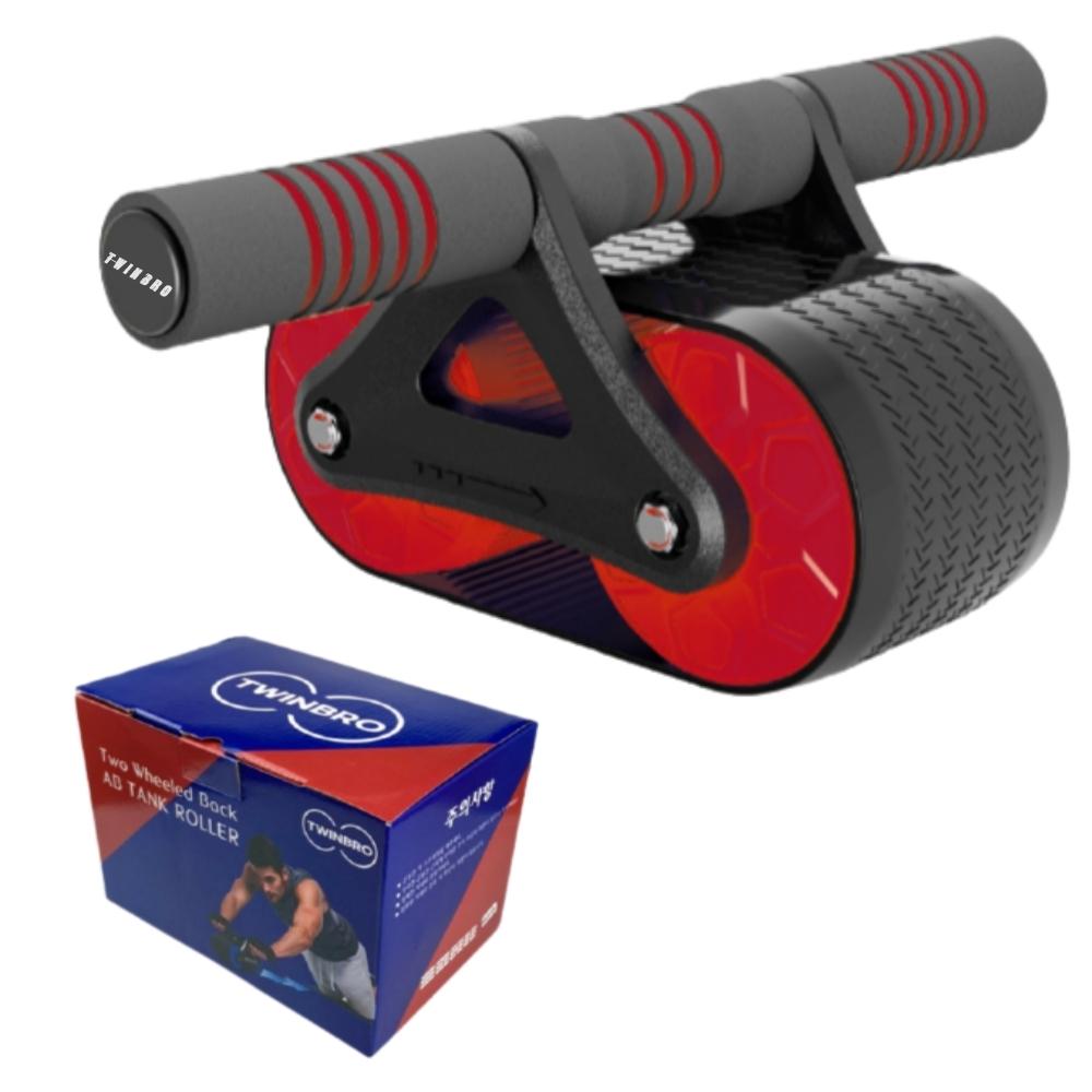 트윈브로 ab 슬라이드 휠 뱃살빼는 운동기구 듀얼 바퀴 복근 운동기, 레드