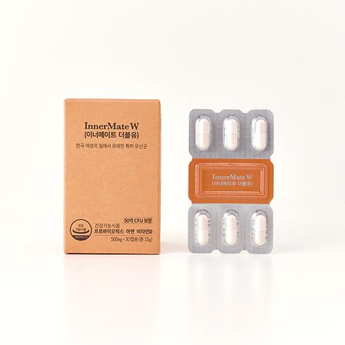 티읕 여성 질 유산균 50억보장 + 면역력 이너메이트 더블유 3팩 90캡슐, 45g / 1500mg /90캡슐