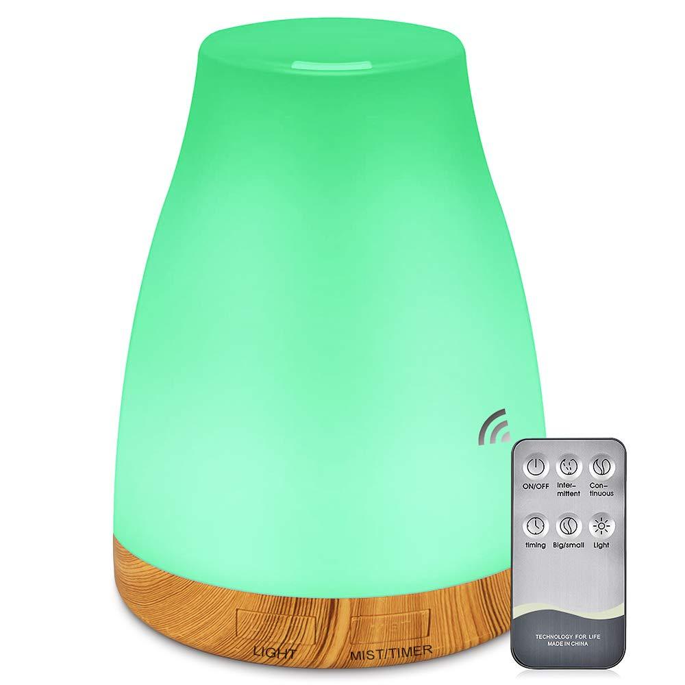 mixigoo 에센셜 오일 에어 미스트 디퓨저-300ML 조용한 아로마 디퓨저 조절 식 쿨 가습기 모드 물이없는 자동 꺼짐 7 색 LED 조명 변경 사무실 홈 침실 거실, 1개
