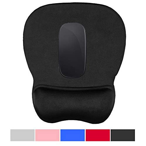 무선마우스 Office Mousepad with Gel Wrist Support - Ergonomic Gaming Desktop Mouse Pad Wrist Rest - Design Gamepad Mat Rubber Base for Laptop Comquter, 본문참고, Color = 09black-1