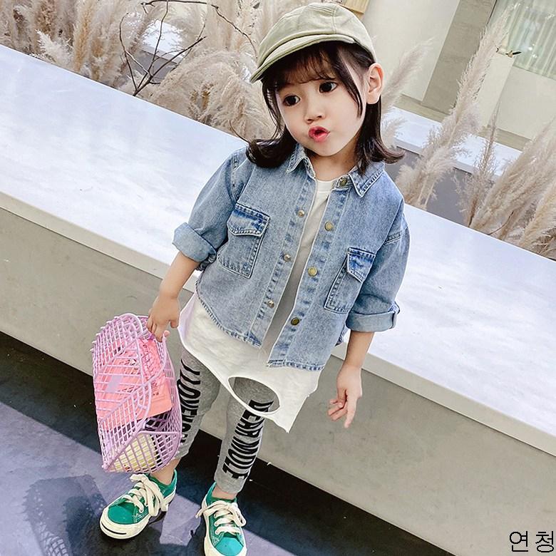 굿데이 컴퍼니 여아 캐주얼 봄 가을 얇은 데님재킷 아동 바람막이 청점퍼 패션 코트 lGNW11