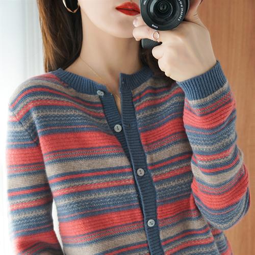 여성 니트 가디건 20 봄 한국어 라운드 넥 캐시미어 100 % 순수 울 스웨터 스트라이프