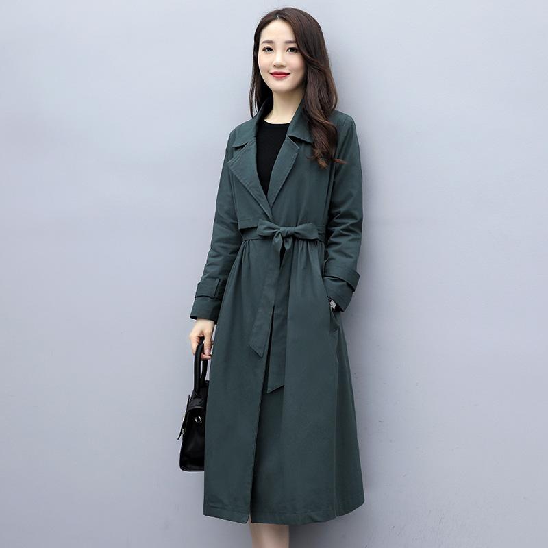 하프트렌치코트 여성 어텀 무드 가을옷 긴 소매 슬림 슬림핏 끈 롱 코트