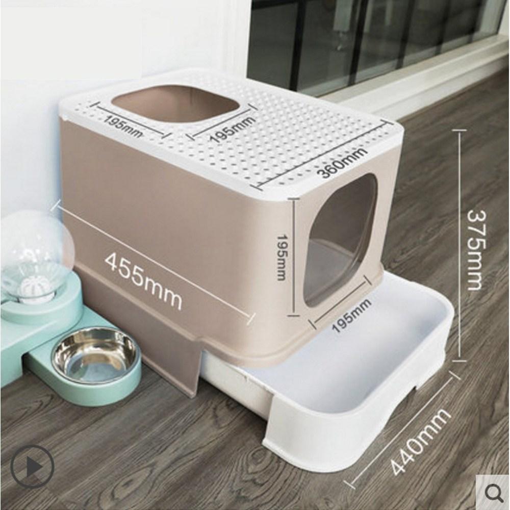 굿똥 오픈형 고양이 화장실 묘래박스 대형 화장실 강집사 즐똥 로마샌드 긋똥 - II, 베이지