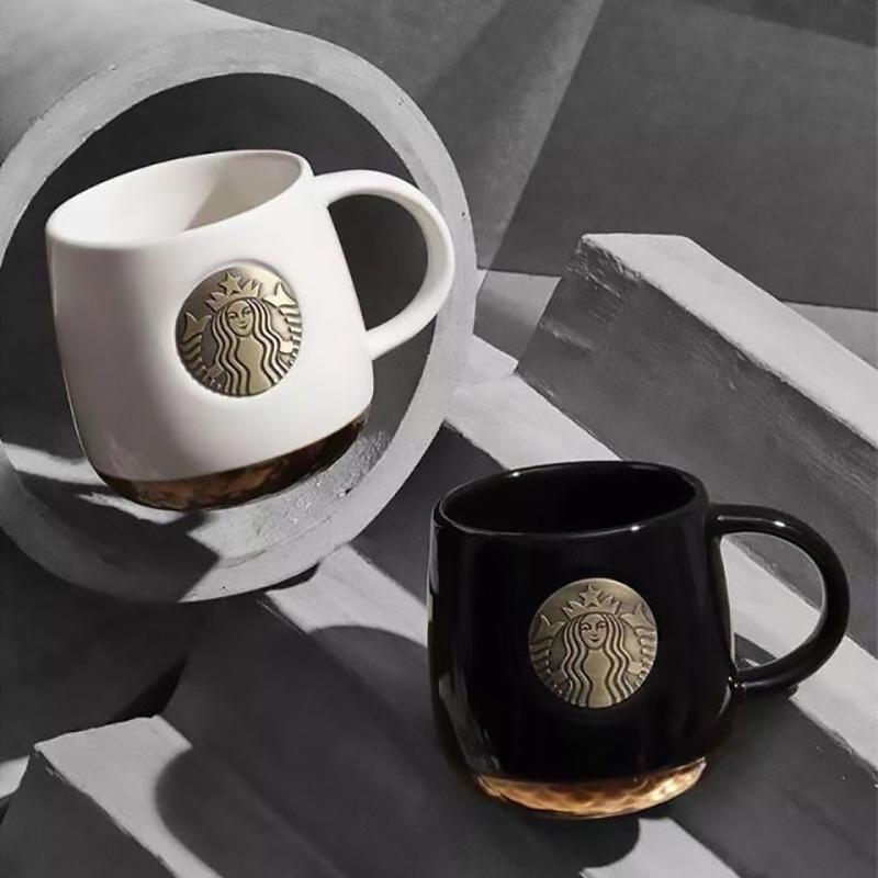 starbucks스타벅스 머그컵 커피잔 남녀 블랙 화이트 금장배 XBK01, 블랙+은색 스푼+뚜껑