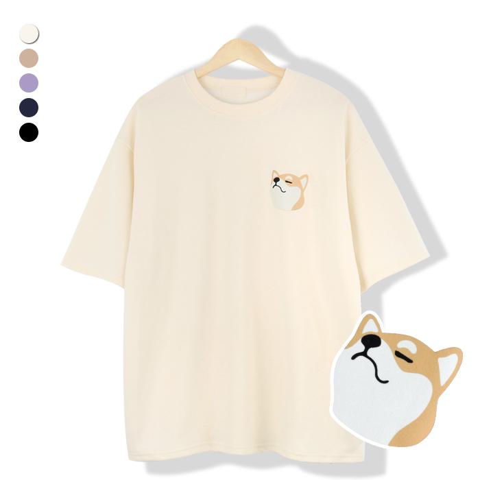 오마보이 남성용 시바견 패치 라운드 반팔 티셔츠