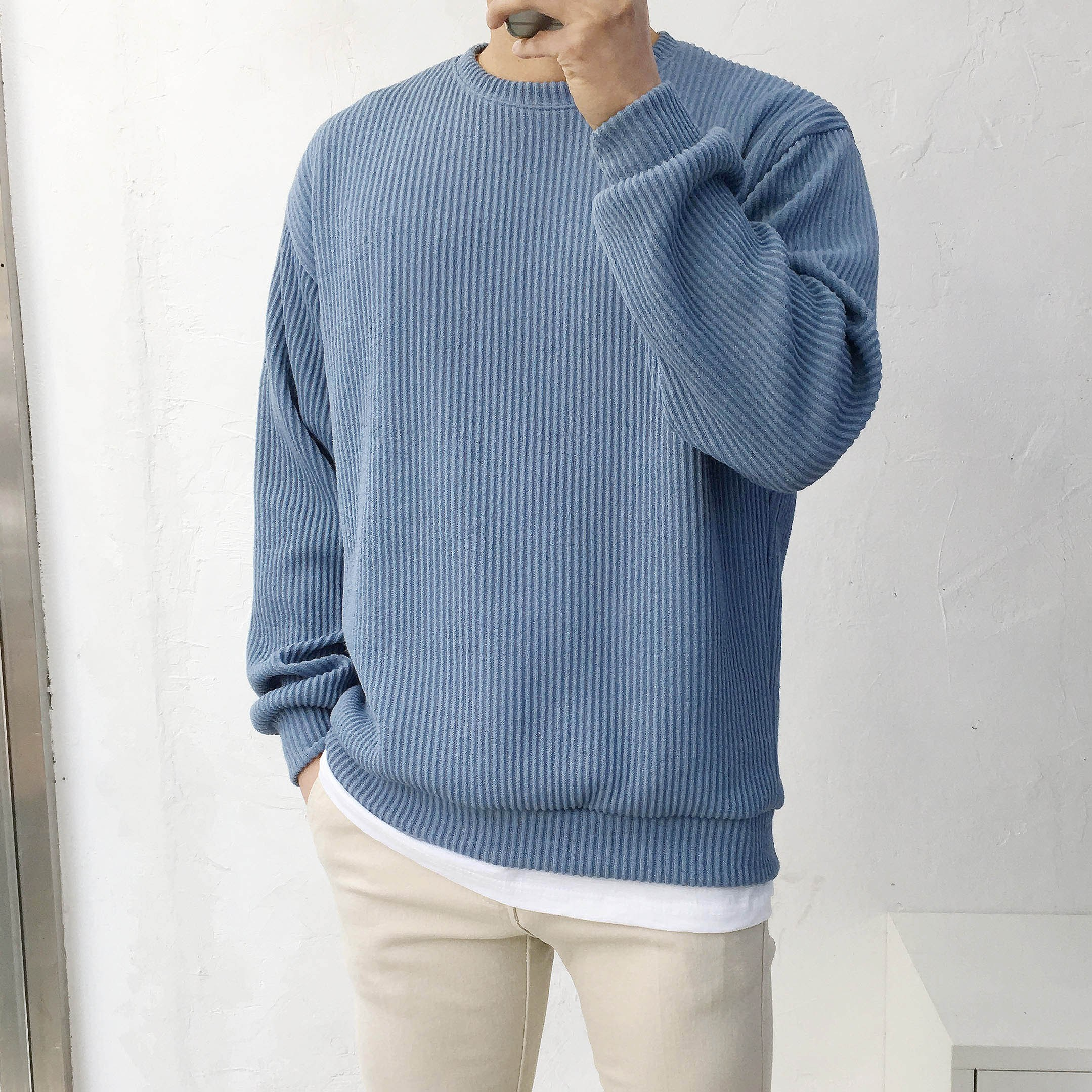 남자 봄가을 오버핏 골지 니트 맨투맨 티셔츠(9컬러)