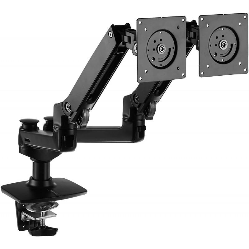 AmazonBasics 프리미엄 듀얼 모니터 스탠드-리프트 엔진 암 마운트 알루미늄-블랙, 단일옵션