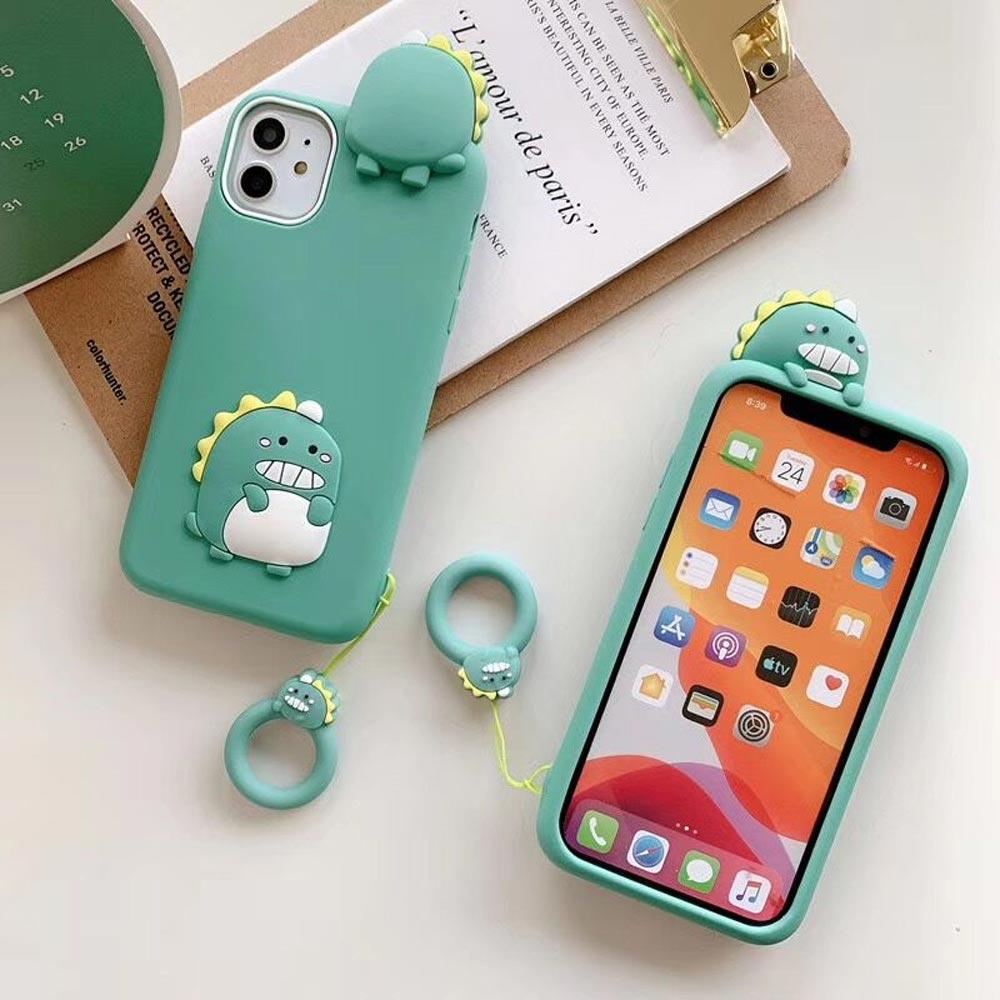 아이폰11 PRO XS X SE2 8 7 버블공룡 3D 입체 피규어 핑거키링 핸드폰 케이스