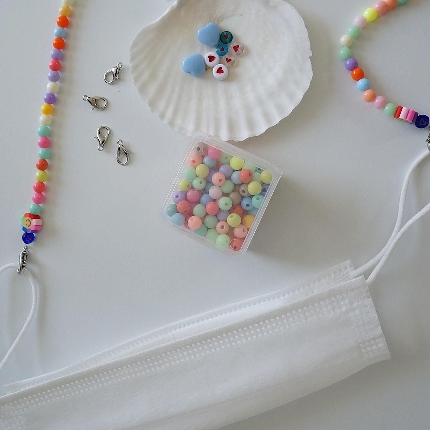 샤론델 비즈마스크목걸이 만들기 미니세트(2개 제작)/마스크스트랩만들기 어린이집만들기 초등학교만들기 중학교만들기