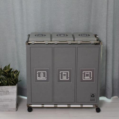 편리한 비닐교체식 가정용 재활용 분리수거함 커버형 3P, 그레이