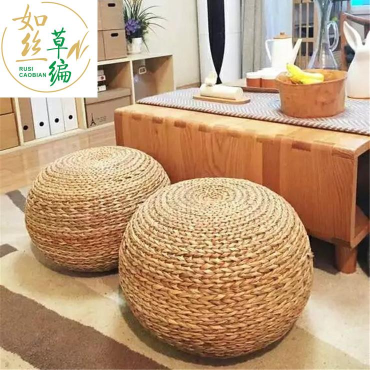 원형라탄스툴인테리어의자, 카키 바나나 잎 원색