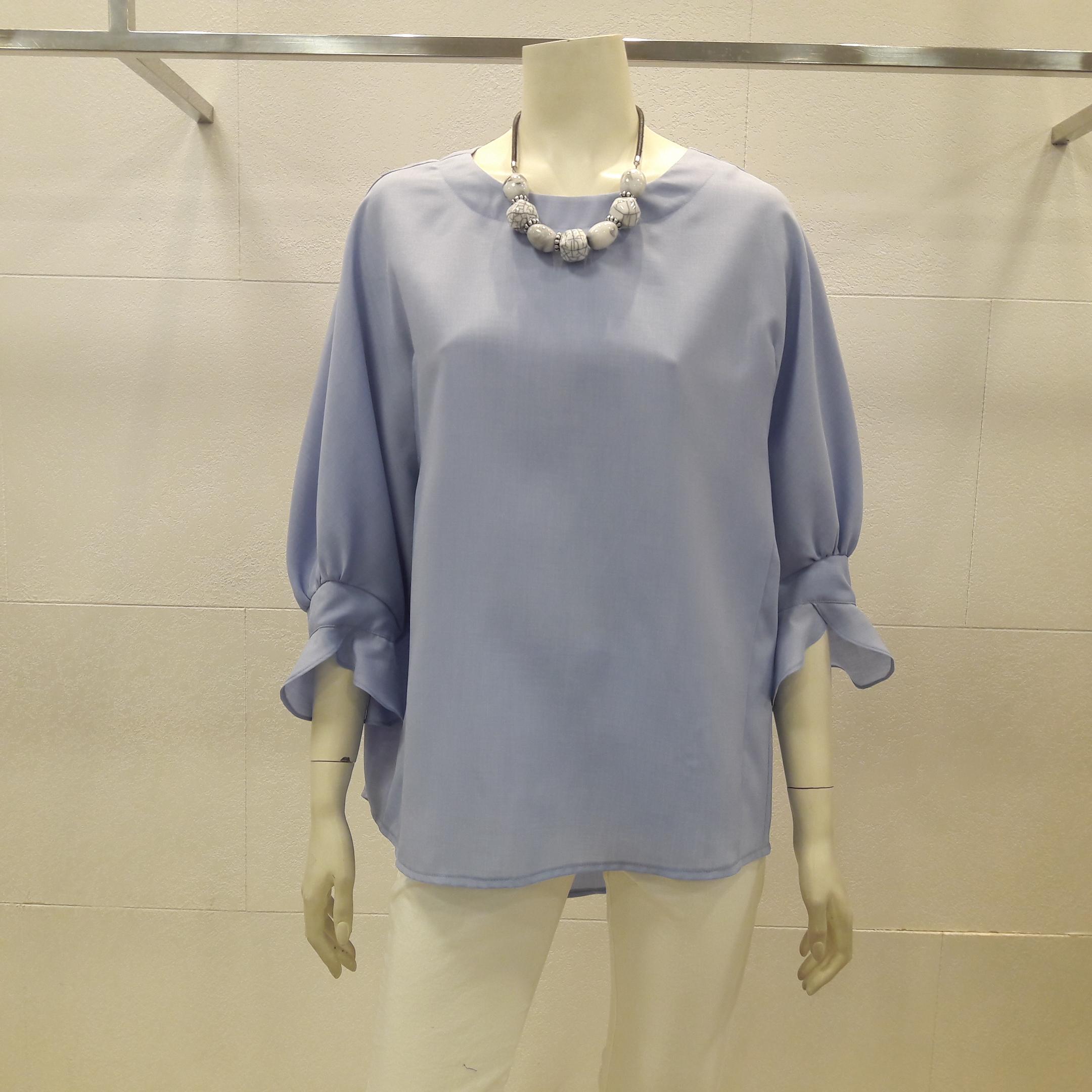 아르테 여성 봄 여름 라운드넥 프릴 소매 루즈 핏 블루 블라우스