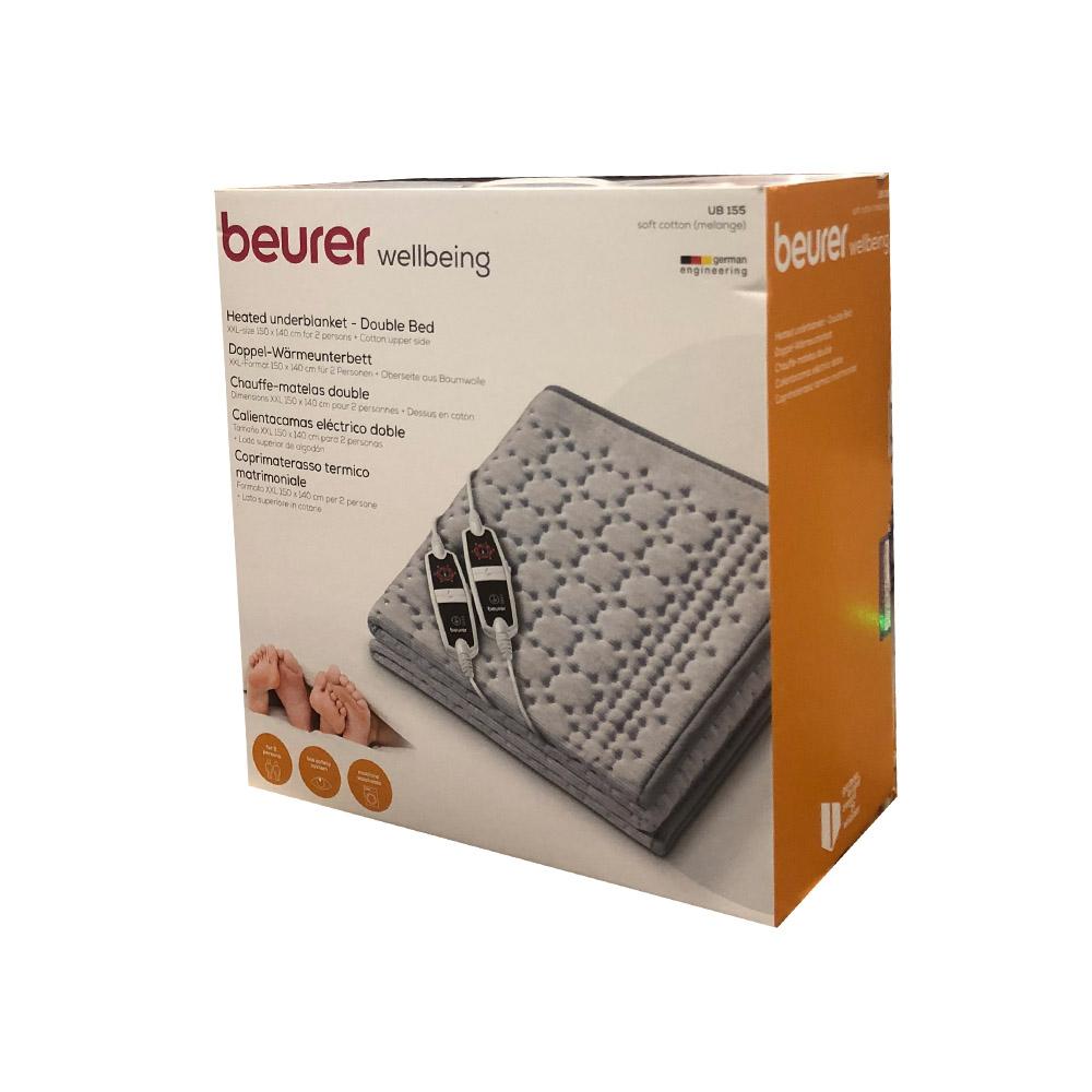 BEURER 보이로 2인용 전기매트 150X140CM UB155멜란지 전기요, 블루
