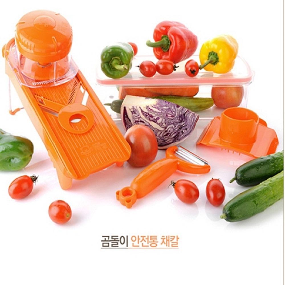 곰돌이채칼 안전통채칼 채썰기 무채칼 만능채칼 감자채칼 오이 양파 홈쇼핑정품 국산정품, 주황, 2개