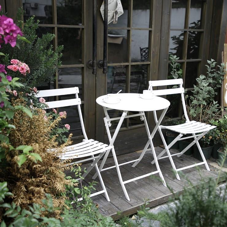 화이트 정원 용 티 테이블 세트 야외 차 원형 2인, 정사각형 테이블 1 개와 의자 2 개