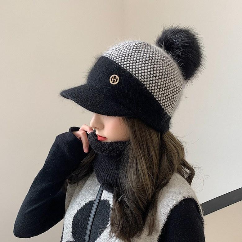 기모 니트 겨울용골프모자 여성 골프 넥워머 털모자 용품 귀덮는 방한용, D