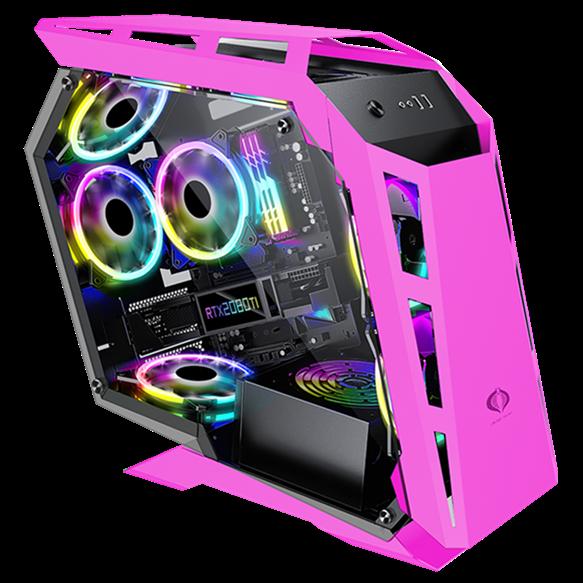냉풍기 sahara컴퓨터 본체 개성 데스크톱 식옆 투명 D900mini기형 수냉식, T02-핑크