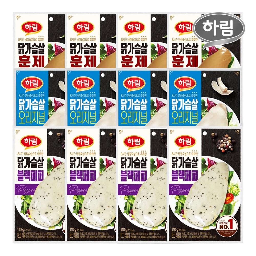 하림 닭가슴살 오리지널+블랙페퍼+훈제 12봉, 1세트