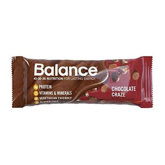 Balance Bar 밸런스바 건강한 프로틴 스낵 초콜릿 열풍 비타민 A C D 및 면역 건강을 지원하는 아연 함유 1.76 Oz 6 개, 1개, 1개