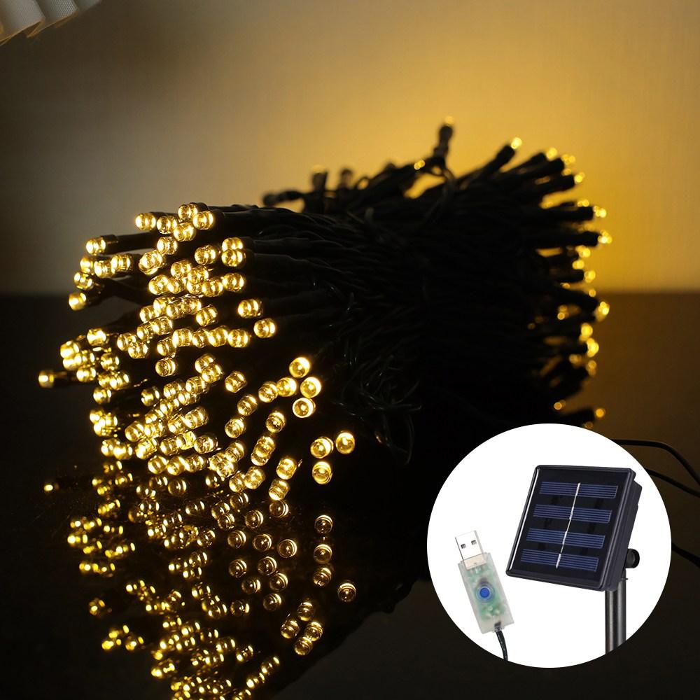 21세기트랜드 태양열 꼬마 전구 줄조명, USB+태양열 22M/200구 노랑