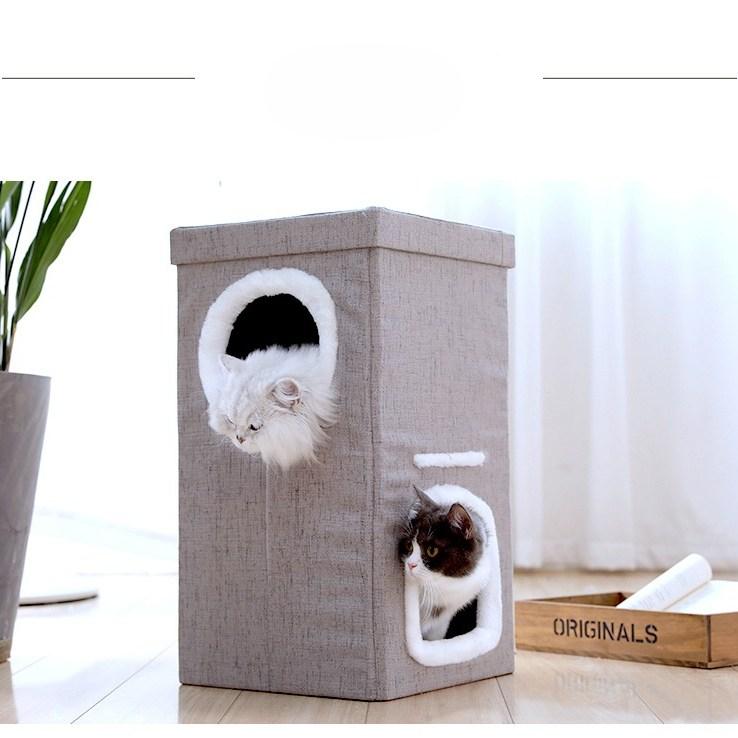 미래물 고양이 캣츠 일체형 큐티클 펫 용품 집 2층 보금자리 별장ZZW, 1개, 31*31*56CM