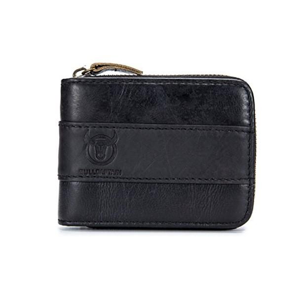 정품 가죽 남성 지갑 E Ekphero RFID 차단 신용 카드 홀더 지퍼 동전 지갑 블랙