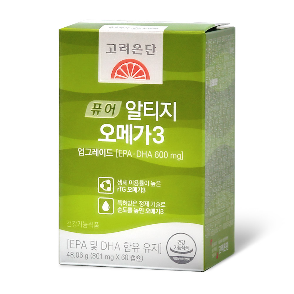 고려은단 퓨어 알티지 오메가3 업그레이드 48.06g (801mg x 60캡슐) [용량UP], 1개