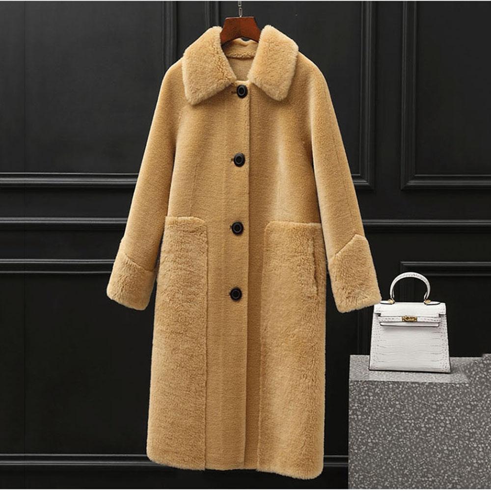 에이디코 잘빠진 여성용 양털 덤블 무스탕 코트 0361
