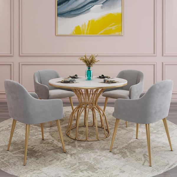 80CM 테이블 4인용 세라믹 대리석 식탁 접이식 원형, 기본형