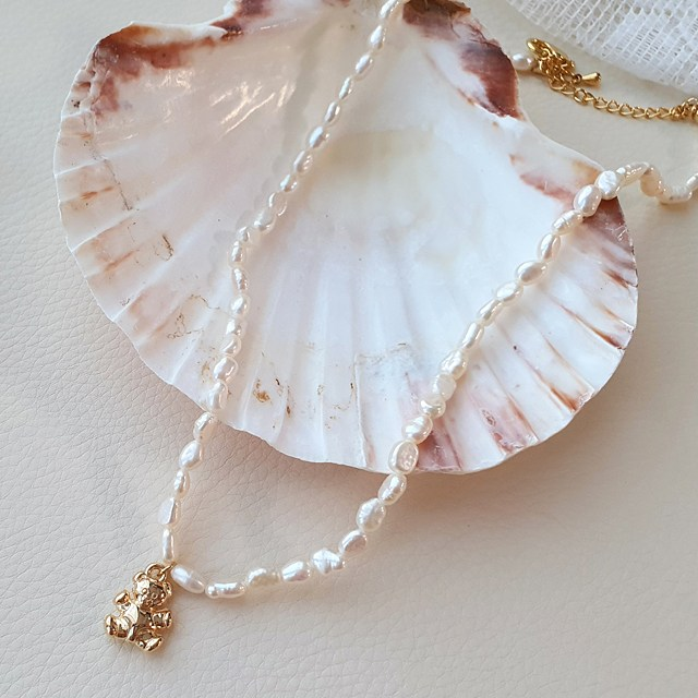 곰돌이 천연 담수진주 귀여운 선물세트 러블리 우아한 레이어드 반지 팔찌 목걸이 1093