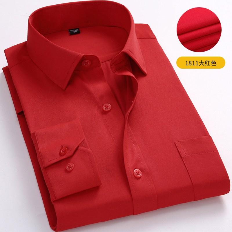 체크남방 2020가을 진빨강 셔츠 남성긴팔 정장구두 오피스룩 태어난띠 옷남성 이너셔츠