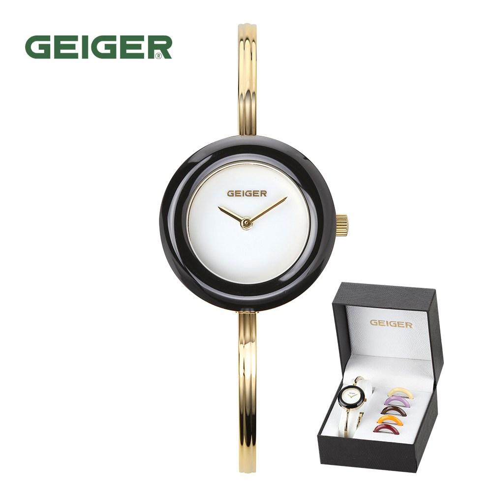 가이거[GEIGER] [백화점 정품] 가이거 여성 비비드 베젤 체인져블 팔찌시계(25mm) GE1220 2종 택 1