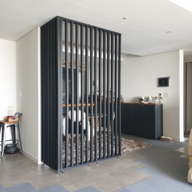 우드레이 스트라이프 인테리어 가벽 파티션 칸막이, 화이트/블랙/메이플_420mm