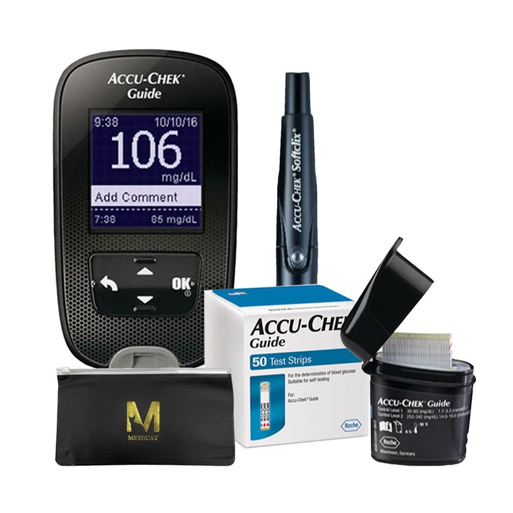 아큐첵 가이드 혈당측정기+시험지60+호환침110+솜100+수첩+메디캣 지퍼백, 1set