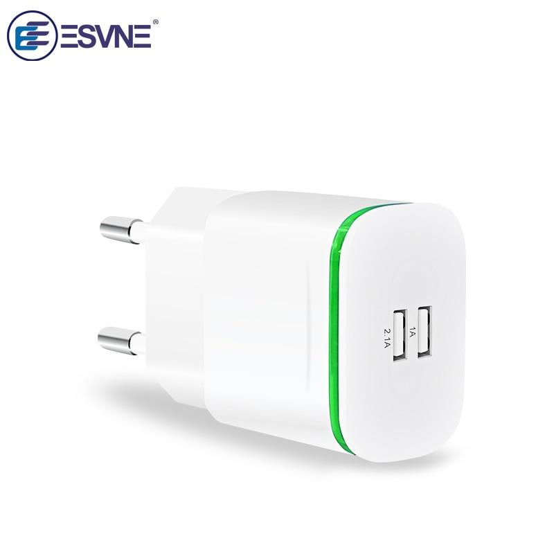 Esvne 휴대 전화 충전기 5 v 2.1a eu 플러그 usb 어댑터 벽 2 usb 충전기 아이폰 5 6 7 ipad 태블릿 삼성 xiaomi 충전기, 1개, 중국