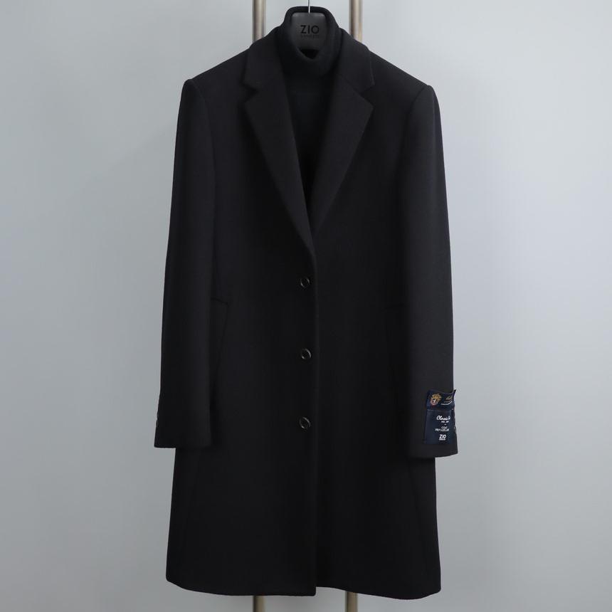지오송지오 ZUW21550 블랙 싱글 캐시미어 체스터 코트