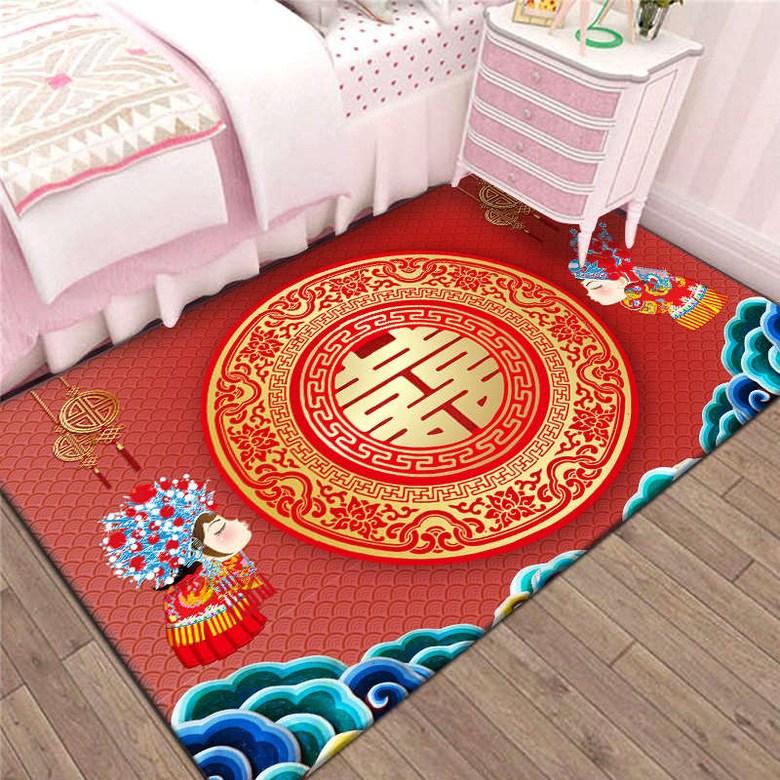 거실매트 결혼축하 카페트 매트 가정용 방 침실 티테이블 거실 소파패드 중국리본 모던 침대주변카펫, C03-맞절 喜자