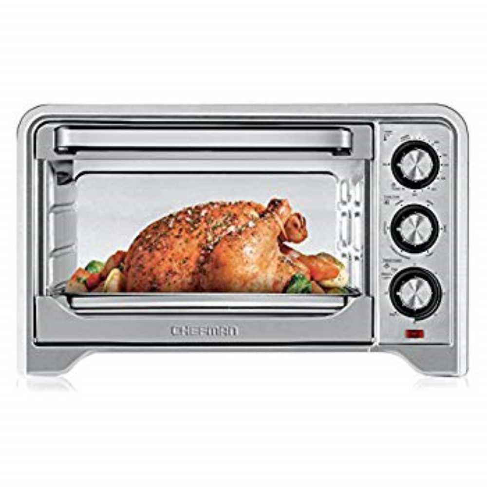 Chefman Toaster Oven Countertop Convection Stainless Steel Oven W/Variable Temperature Control; Large 6 Slice; 6 Cookin