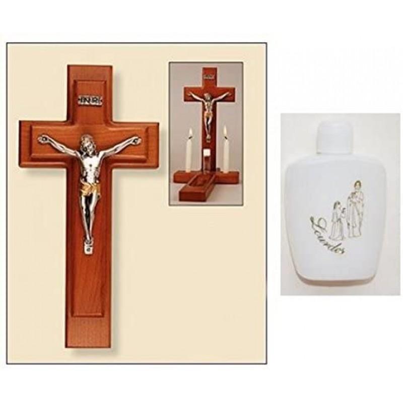 아픈 전화 세트-나무 십자가와 루르드 성수 병 : 홈 & 주방, 단일옵션